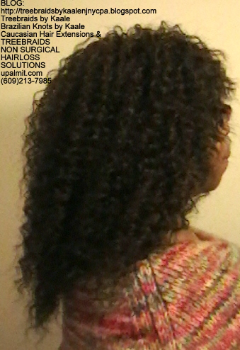 Tree Braids- Cornrows with fluffy Kinky Curly human hair Right.