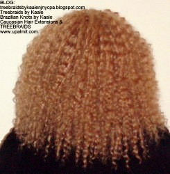 Tree Braids- Cornrows with fluffy Kinky Curly human hair After Back.