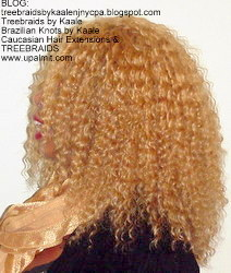 Tree Braids- Cornrows with fluffy Kinky Curly human hair After Left.