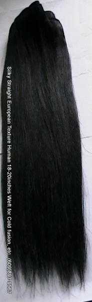 Silky straight European human hair extensions, color: Black 60inches.