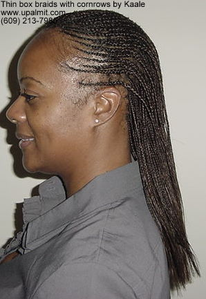 Box braids- thin box braids styles with feed in cornrows, left side.