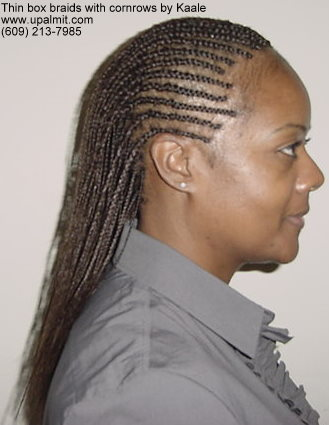 Box braids- thin box braids styles with cornrows, right side.