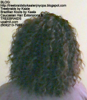 Tree Braids by Kaale, individual treebraids with curly deep bulk hair Back.