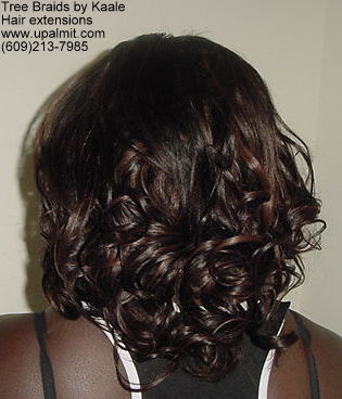 Curly hair extensions- back view.