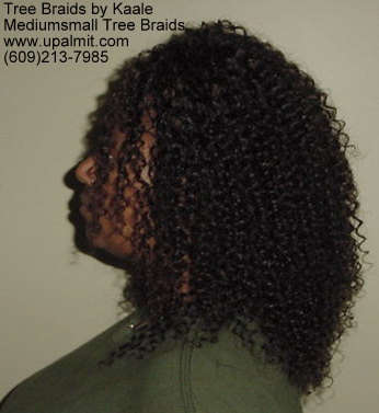 Summer, vacation, and beach Kinky curly Tree Braids- left view.