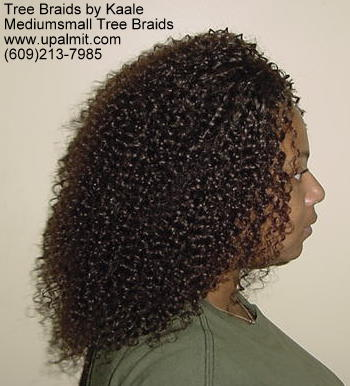 Summer, vacation, and beach Kinky curly Tree Braids- right view.