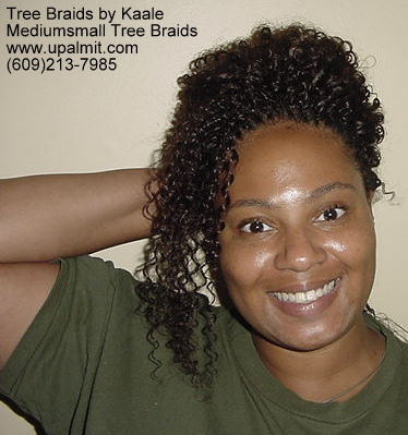 Summer, vacation, and beach Kinky curly Tree Braids- Updo.