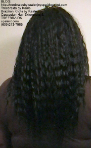 Tree Braids- Cornrows with Kaale brand loose Wet n Wavy human hair, Long Back2387.