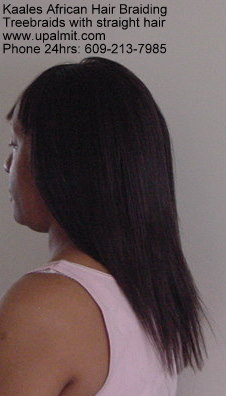 TreeBraids cornrows with straight hair by Kaale's 24hr braiding service (609) 606-2893, back view.