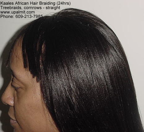 Treebraids cornrows with straight hair by Kaale's 24hr braiding service (609) 606-2893.