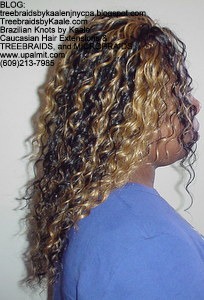 Tree Braids by Kaale- cornrow treebraids with blonde streaked hair Right view.