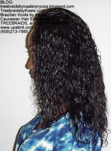 Tree Braids by Kaale using wet and wavy hair, left view only.