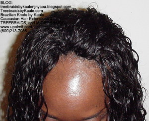 Tree Braids by Kaale using wet and wavy hair, top view only.