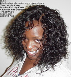 Tree Braids by Kaale- remy hair used for these cornrow treebraids with curly hair, front.