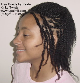 Kinky twists with human hair.