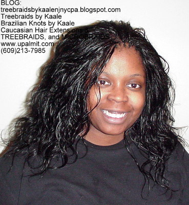 Tree Braids by Kaale- Indian remy hair in individual treebraids, Front2265.