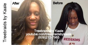 Tree Braids by Kaale- traditional cornrow treebraids done very small before and after Front42813.