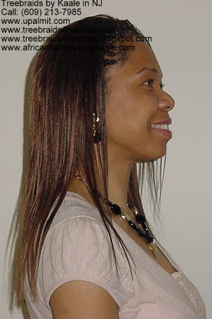Treebraids- straight treebraids, posed- side view.