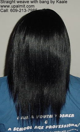 Hair extensions with bang- straight.