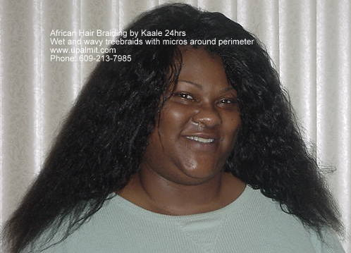 Treebraids with 22 inch long wet and wavy human hair and invisible part.