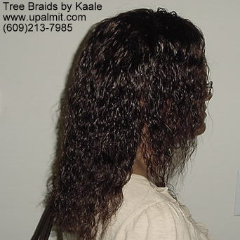 Summer, vacation, and beach wet and wavy Tree Braids- right side.