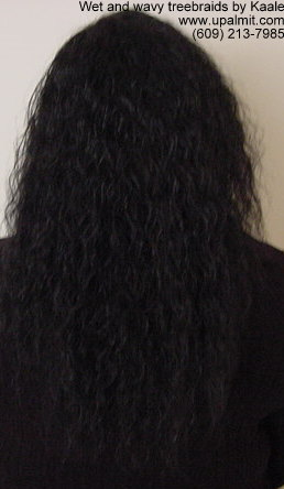 Wet and wavy treebraids with invisible part, back view.