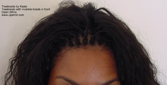 Treebraids with indian hair by Kaale, closeup view.