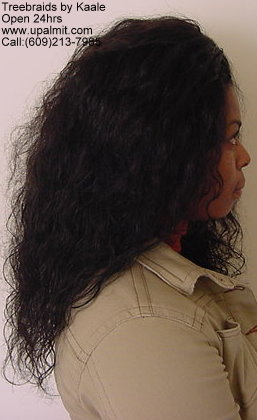Treebraids with indian hair by Kaale, side view.