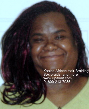 Box braids with flip up ends by Kaales African Hair Braiding NJ.