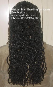 long box braids braided to the ends by Kaales African Hair Braiding NJ.