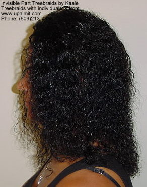 Wet and wavy treebraids with invisible part and individuals in front.