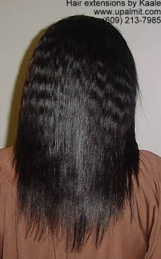 Hair extensions, hair weave with microbraids in front- back view.