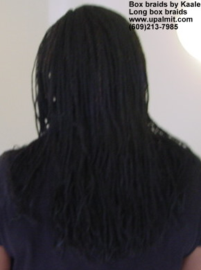 Long box braids with synthetic hair, back view- by Kaales African Hair Braiding.