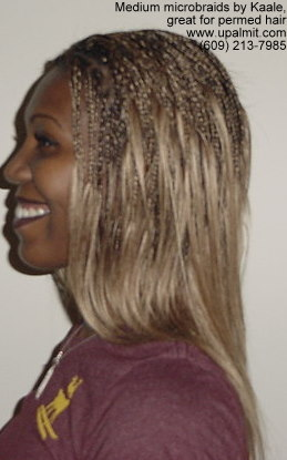 Medium microbraids styles, great for chemically relaxed hair- left view.