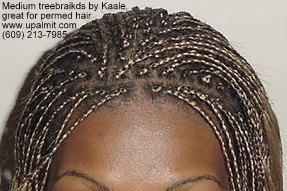 Medium microbraids styles, great for permed hair, top view.