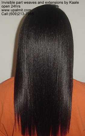 Hair extensions, full hair weave with straight hair, back view.><br /><br />Straight hair weave extensions weave with invisible part.  Closed style, back view.<br /><br />Image #812) g:<br /><br /><img src=