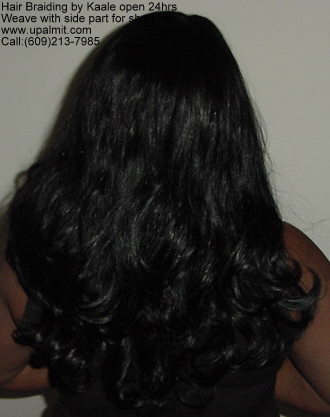 Sewin weave, hair extensions with side part for very short hair.