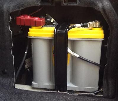12 volt battery installed in a Toyota Camry Hybrid