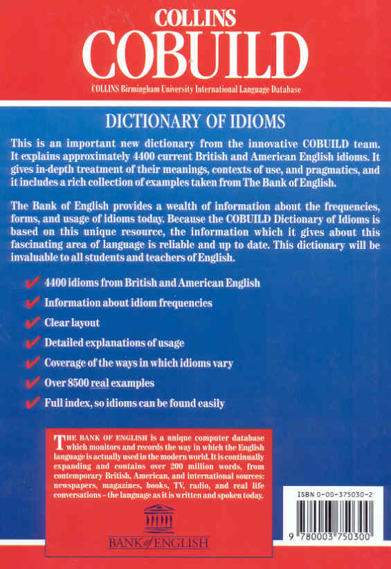 Collins Cobuild Dictionary Of Idioms Paperback