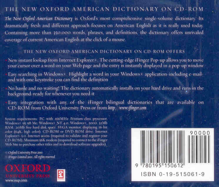 The New Oxford American Dictionary (CD-ROM)