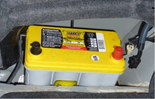 Partly installed Optima Battery in 2001 Prius.