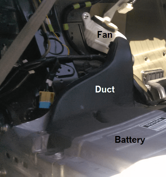 Prius 2004-2009 hybrid battery cooling fan dirty