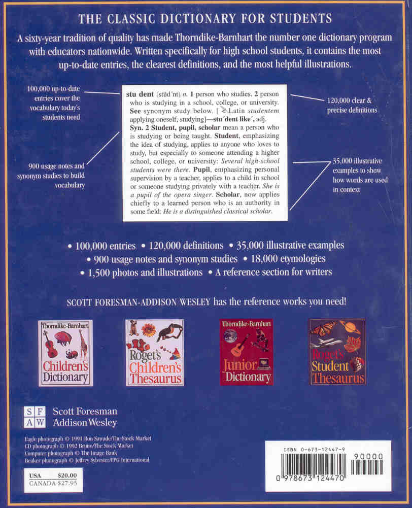 Thorndike barnhart student dictionary hardcover view the back cover of this book fandeluxe Images
