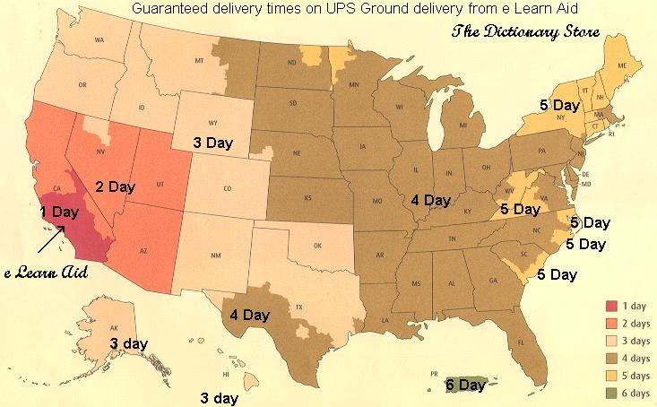 UPS ground delivery times from e Learn Aid