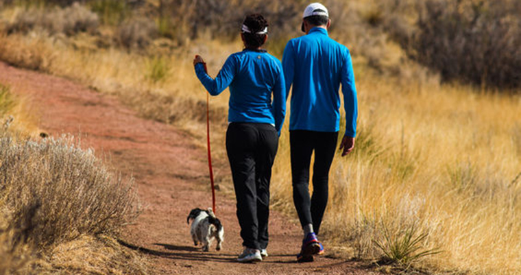 A imahge of 2 couple hiking with a dog