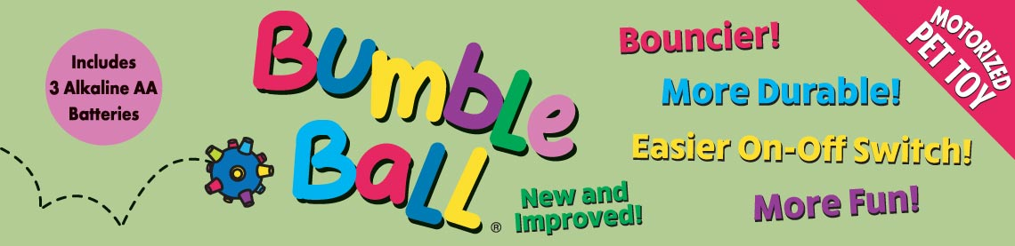 Bumble Ball New and Improved! Bouncier! More Durable! Easier On-Off Switch! More Fun! Motorized Pet Toy. Includes 3 Alkaline AA Batteries