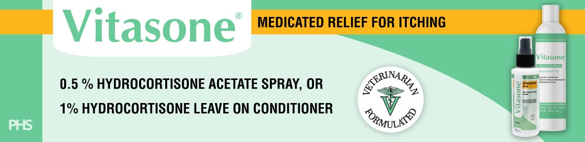 Vitasone 0.5% hydrocortisone acetate spray, or 1% hydrocortisone leave on conditioner. Medicated Relief for Itching