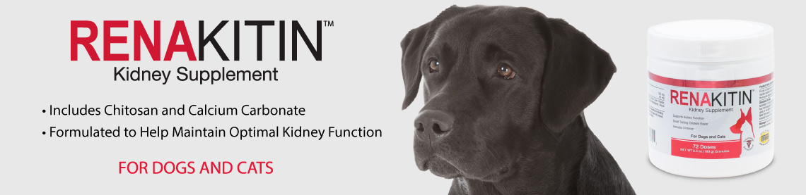 Renakitin Kidney Supplement, Includes Chitosan and Calcium Carbonate; Formulated to Help Maintain Optimal Kidney Function; For dogs and cats