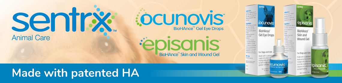 Sentrx Animal Care. Ocunovis BioHAnce Gel Eye Drops. Episanis BioHAnce Skin and Wound Care.