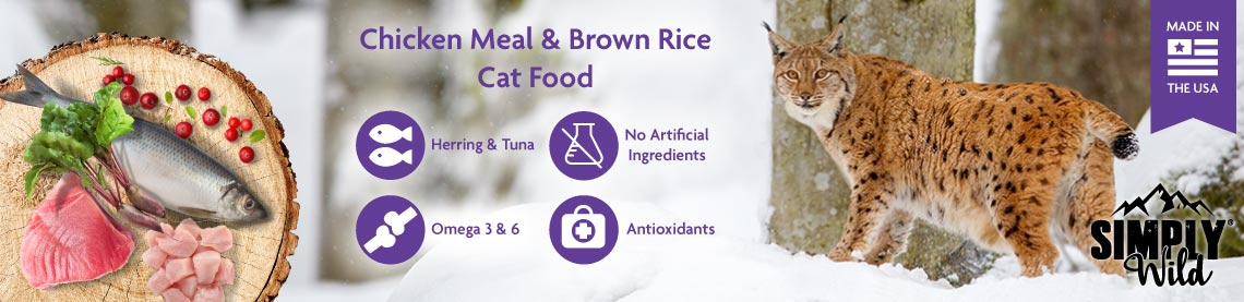 Chicken Meal and Brown Rice Cat Food: Herring and Tuna, No Artificial Ingredients, Omega 3 and 6, Antioxidants. Made in the U.S.A.